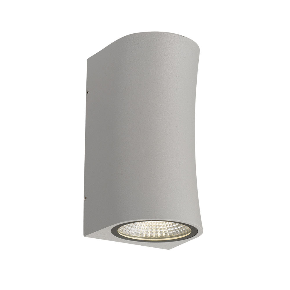 Vita Silver Curved Hourglass Up/Down LED Exterior Wall Light