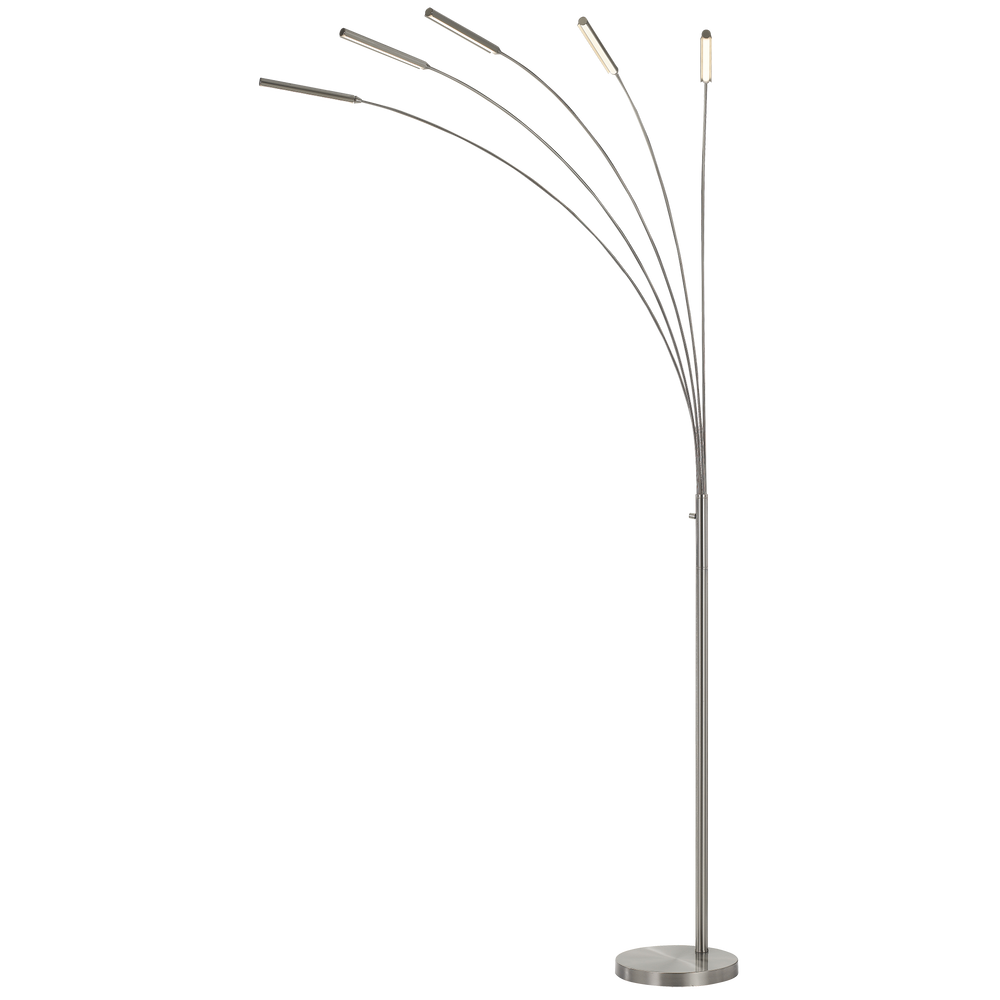 Vogel Nickel 5 Light Arcing LED Floor Lamp
