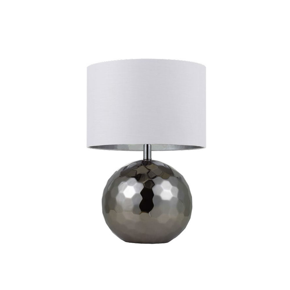 Wise Chrome Hex Textural Sphere Table Lamp