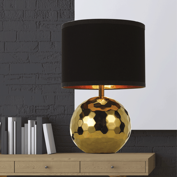 Wise Gold Hex Textural Sphere Table Lamp