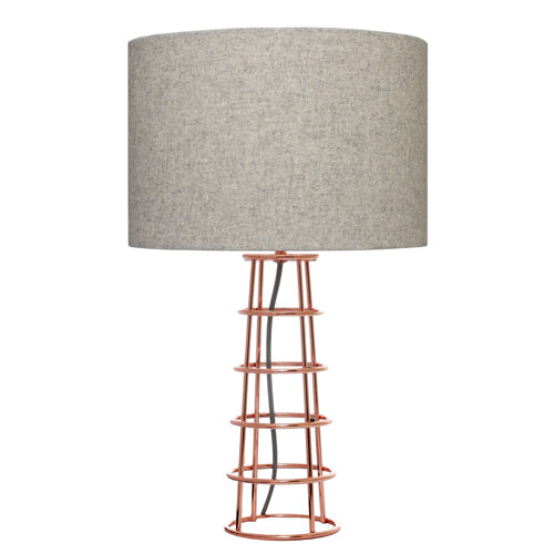 Beatrice Modern Table Lamp Grey Shade With Copper Base