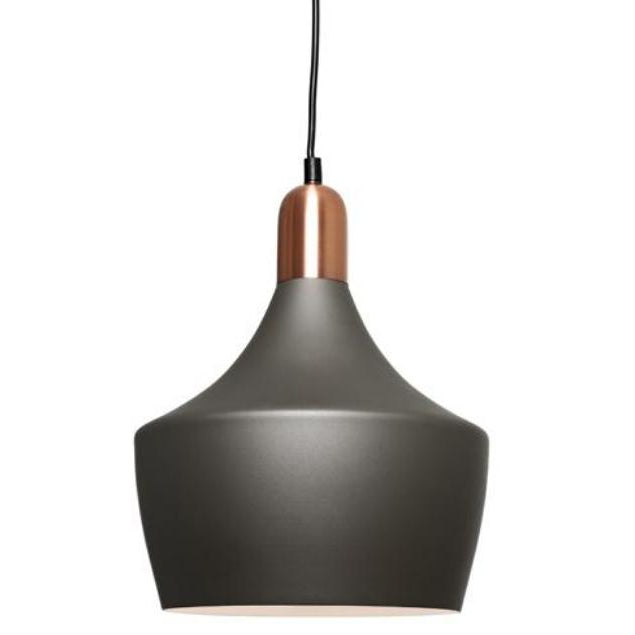 Bevo 1 Light Charcoal and Copper Pendant