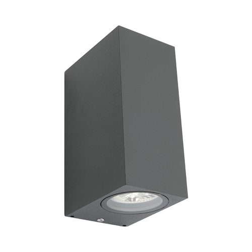 Brugge Square Exterior Up and Down Charcoal Wall Light