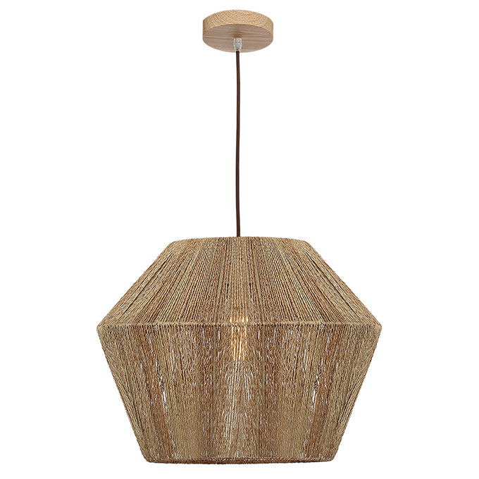 Cassie Large Pendant Wood Canopy With Natural Thread