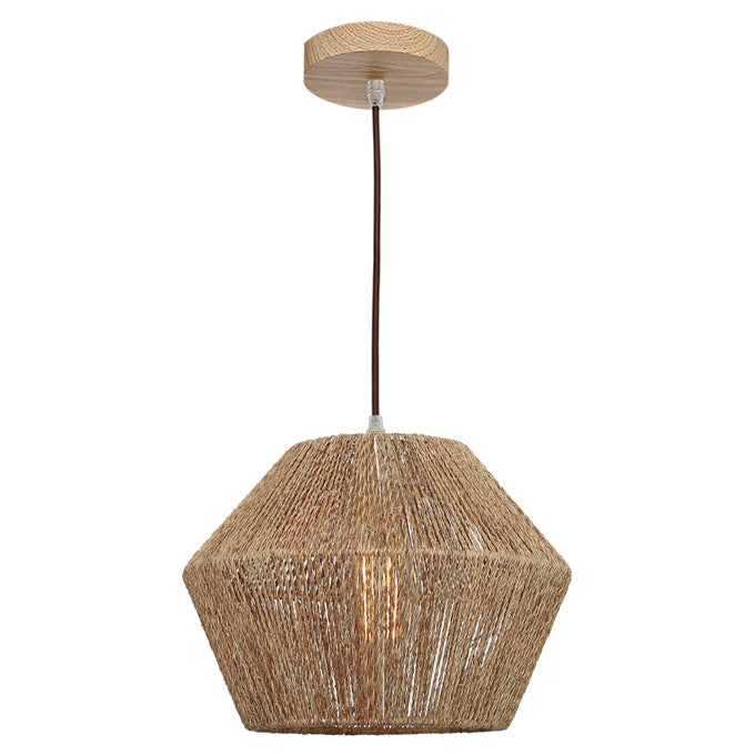Cassie Small Pendant Wood Canopy With Natural Thread