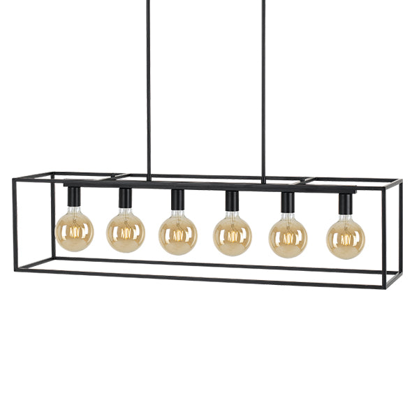 Collins 6 Light Rectangular Box Metal Frame Pendant