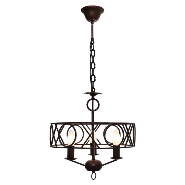 Cortana Traditional Metal Rust 3 light Pendant