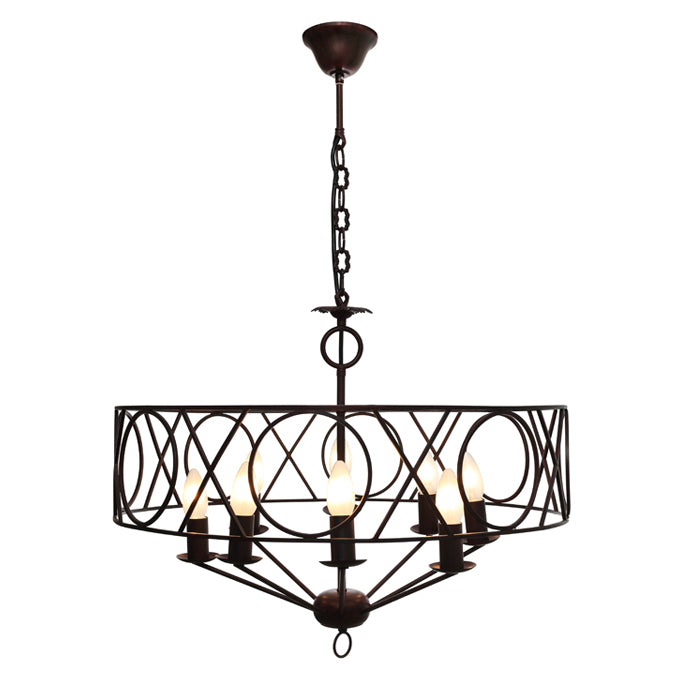 Cortana Traditional Metal Rust 8 light Pendant