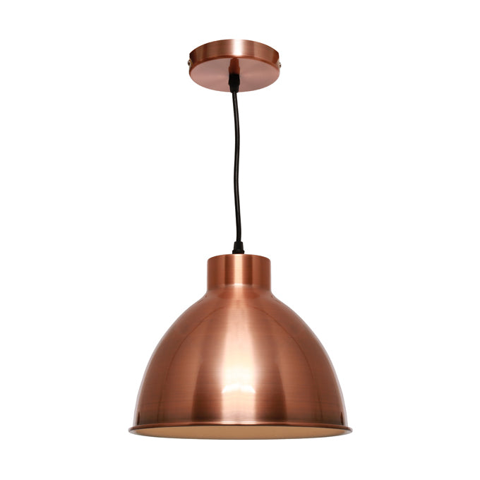 Dome Brushed Copper Industrial Pendant
