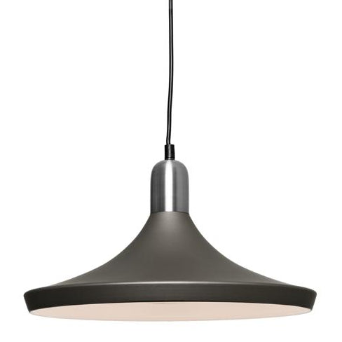 Dusty 1 Light Satin Chrome and Charcoal Pendant