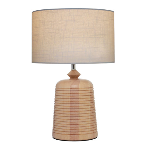 Eira Table Lamp Off White With Timber base