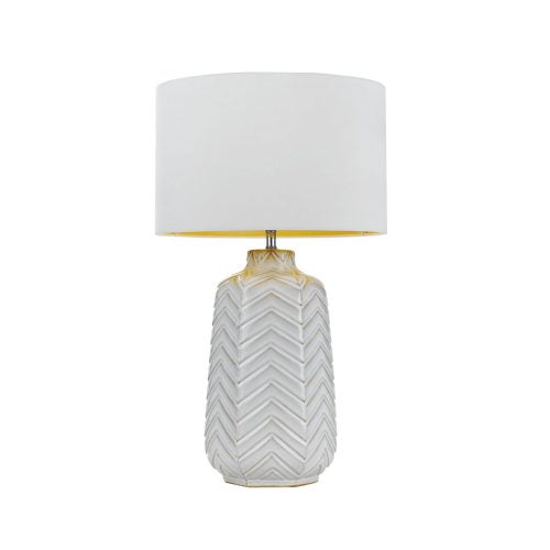 Esmo Zigzag Ceramic Hex Base Table Lamp