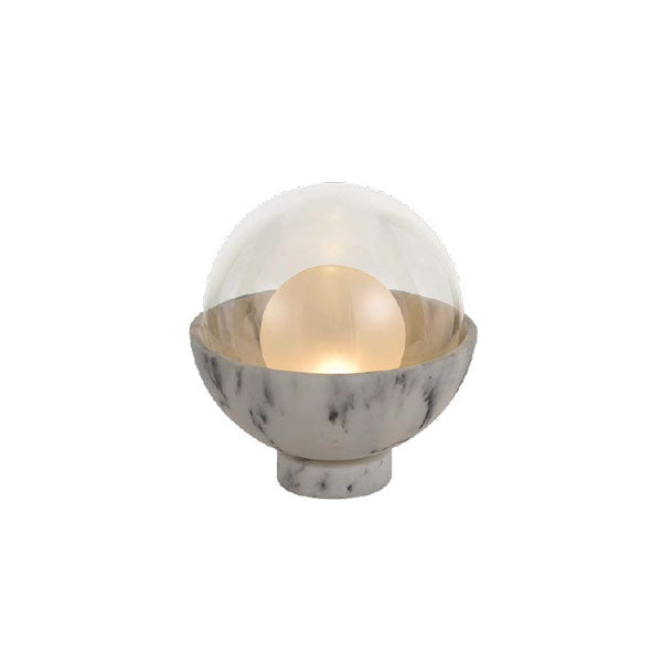 Exeter White Marble Dish and Glass Globe Table Lamp