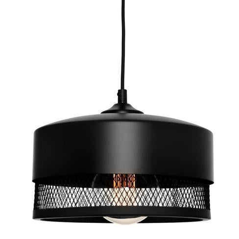 Galahad Medium Mesh Cylindrical Black Pendant