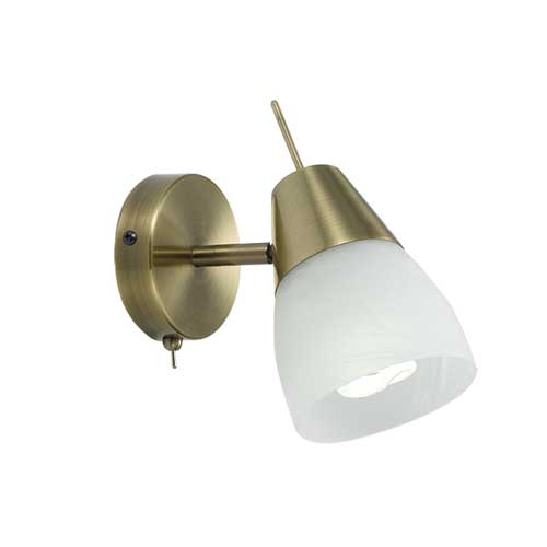 Gibson Antique Brass Adjustable Wall Light with Switch