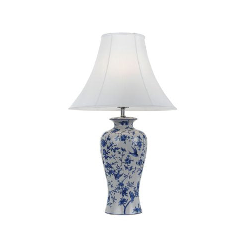 Hulong Blue and White Bird and Flower Vase Table Lamp