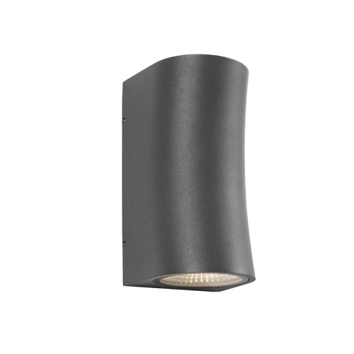 Lisbon Curved Exterior Up and Down Charcoal Wall Light
