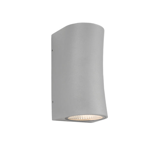 Lisbon Curved Exterior Up and Down Silver Wall Light