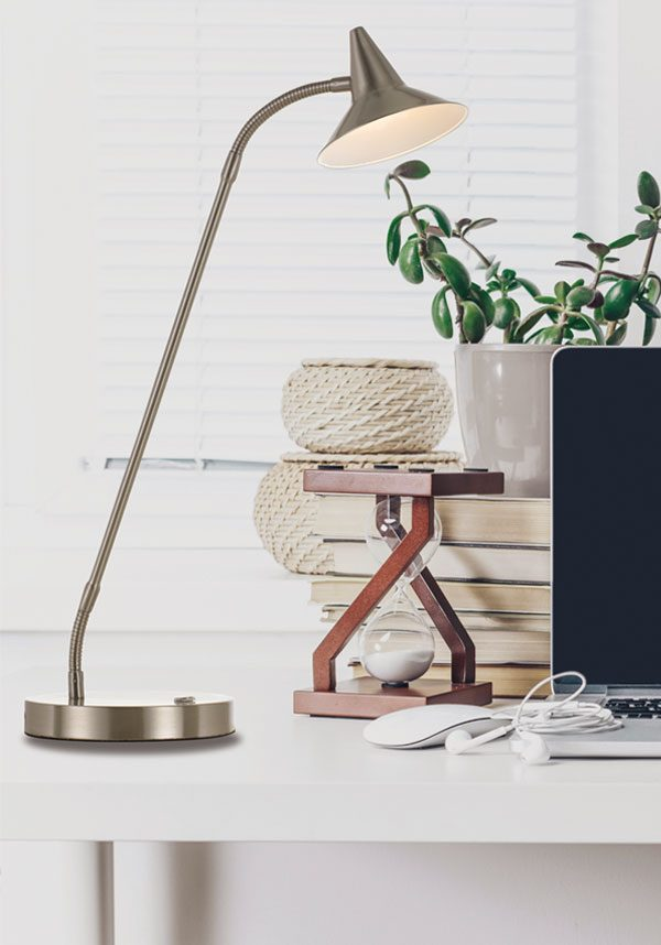 Marit Nickel Three Stage Touch Desk Lamp