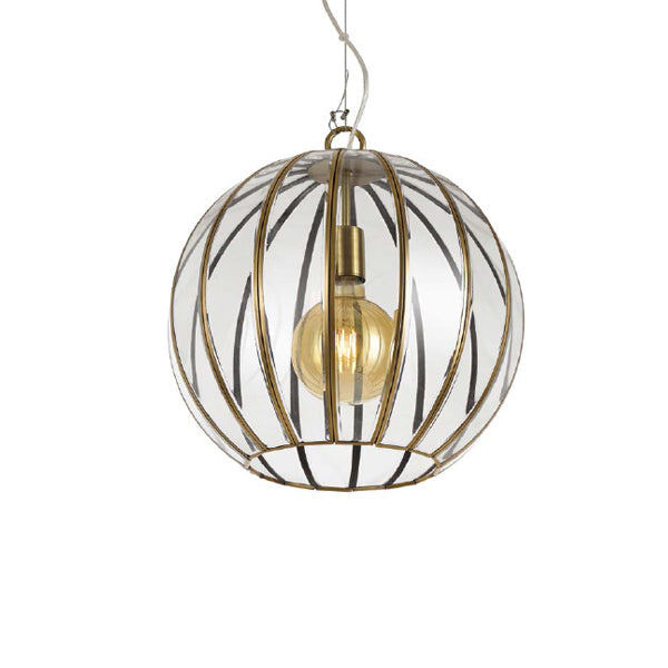 Medina 40cm Antique Brass Glass Panel Open-bottom Sphere Pendant