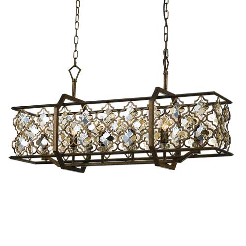 Mimosa 89cm Crystal and Aged Brass Rectangular Pendant