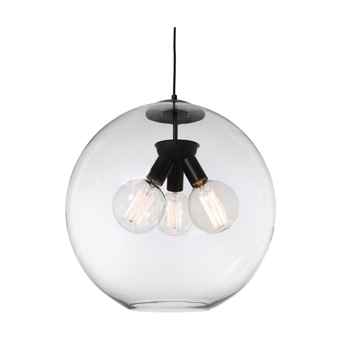 Orpheus 3 Light Black with Clear Glass Sphere Pendant