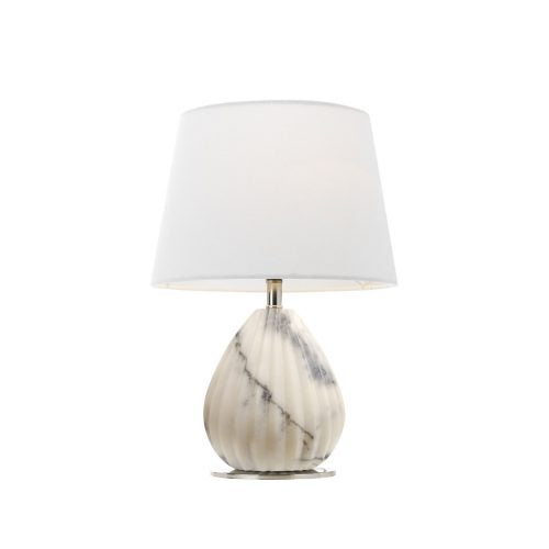 Orson White Marble Ridged Table Lamp