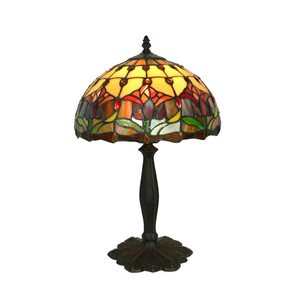 "Tiffany 12"" Red Tulip Table Lamp"