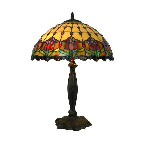 Tiffany Red Tulip Table Lamp TLA-17625/069L