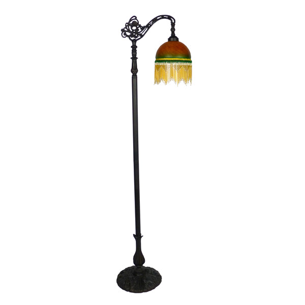 Victoria Amber Green Beaded Floor Lamp