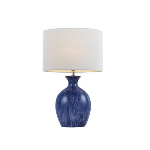 Panto Blue/White Streak Painted Ceramic Table Lamp