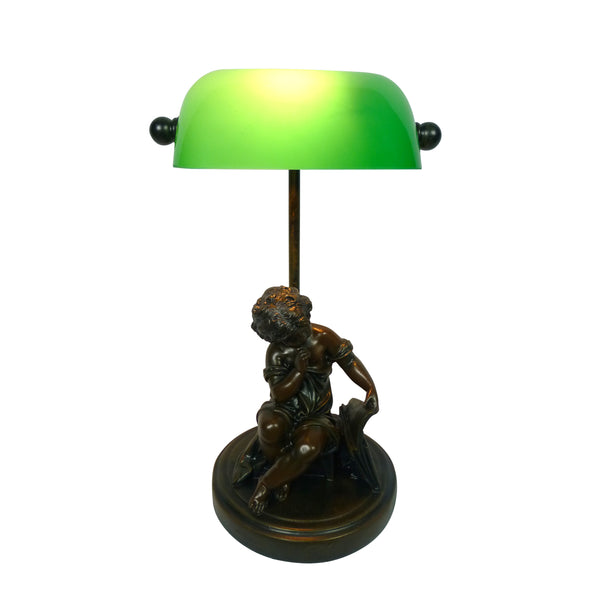 Child Reading Bankers Lamp