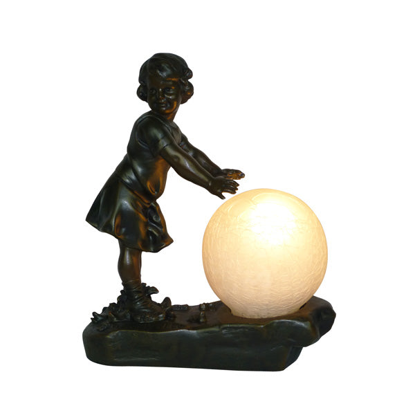 "Girl With 4""Crackle Ball Table Lamp"