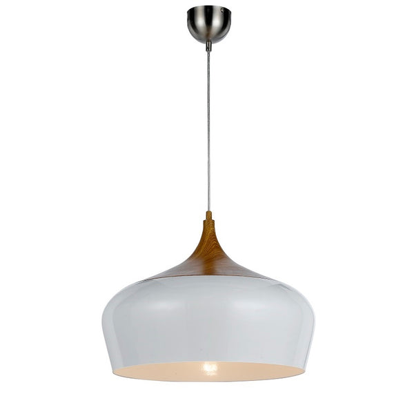 Polk 46 White and Timber Pendant
