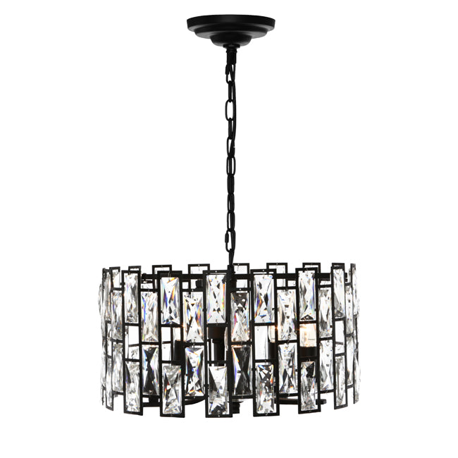 Porsha 5 Light Black with Crystal Modern Pendant