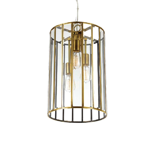 Pratt 30cm Glass Panel Tall Drum Pendant