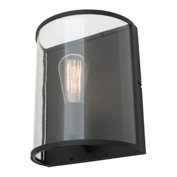 Liverpool Matt Black and Rounded Glass Wall Light