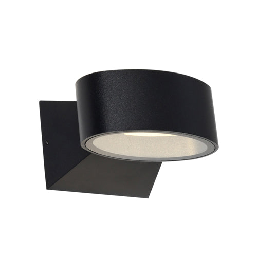 Quebec Black Oval Elliptical Up/Down LED Pillar Indoor/Outdoor Wall Light