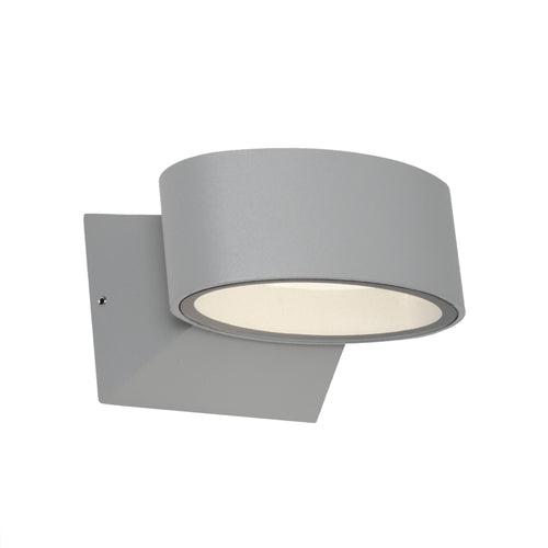 Quebec Silver Oval Elliptical Up/Down LED Pillar Indoor/Outdoor Wall Light
