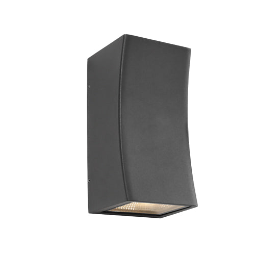 Ramada Curved Exterior Up and Down Charcoal Wall Light