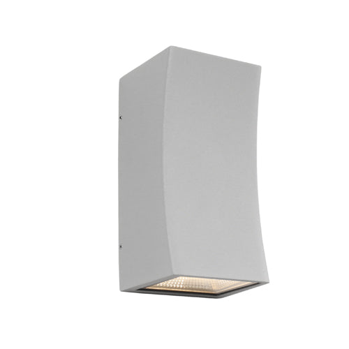 Ramada Curved Exterior Up and Down Silver Wall Light