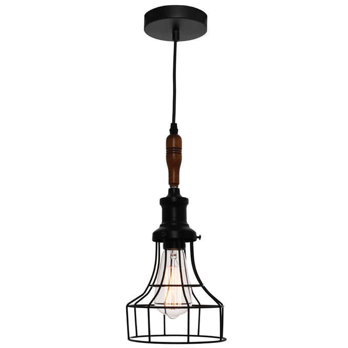 Reed Industrial Black Cage with Teak Wood Pendant