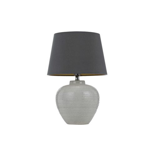Selma White and Grey Ceramic Roll-Layer Table Lamp