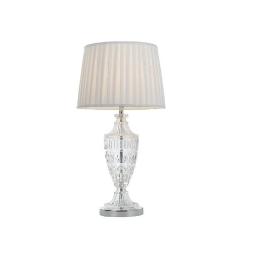 Sigrid Chrome with Large Crystal Glass Base Table Lamp