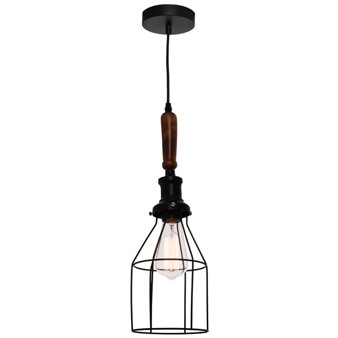 Spindle Industrial Black Cage with Teak Wood Pendant