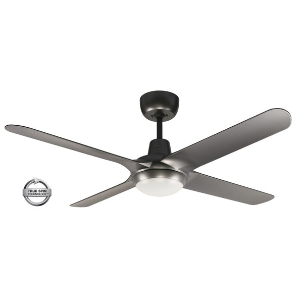 "Spyda 50"" 4-Blade Titanium with LED Light 1250mm ABS Plastic Ceiling Fan by Ventair"