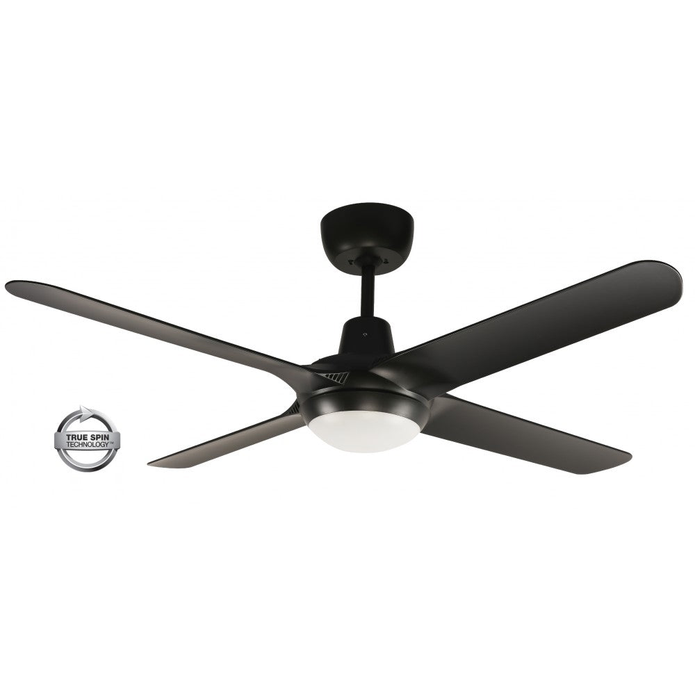 "Spyda 56"" 4-Blade Black with LED Light 1400mm ABS Plastic Ceiling Fan by Ventair"