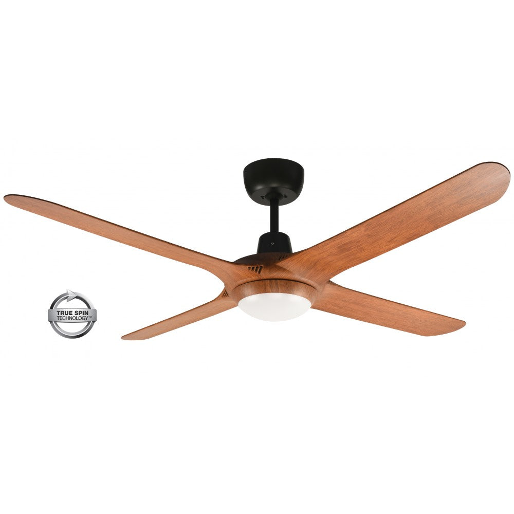 "Spyda 56"" 4-Blade Teak with LED Light 1400mm ABS Plastic Ceiling Fan by Ventair"