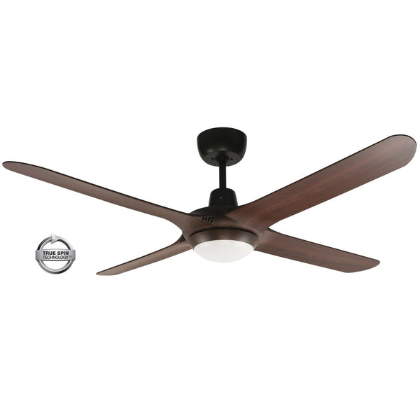 "Spyda 56"" 4-Blade Walnut with LED Light 1400mm ABS Plastic Ceiling Fan by Ventair"