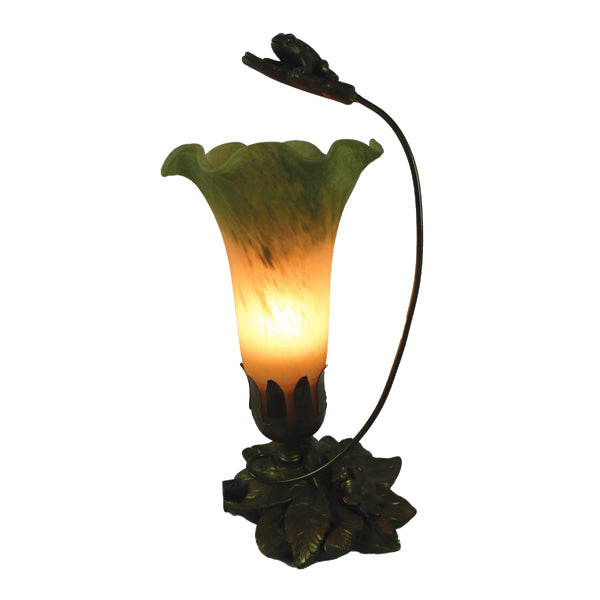 Leap Frog Single Peach Green Lily Glass on detailed brown base.